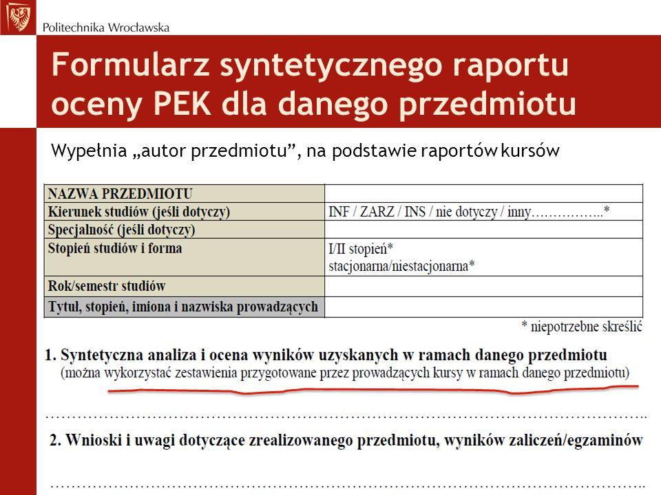 """Formularz syntetycznego raportu oceny PEK dla danego przedmiotu Wypełnia """"autor przedmiotu"""", na podstawie raportów kursów"""
