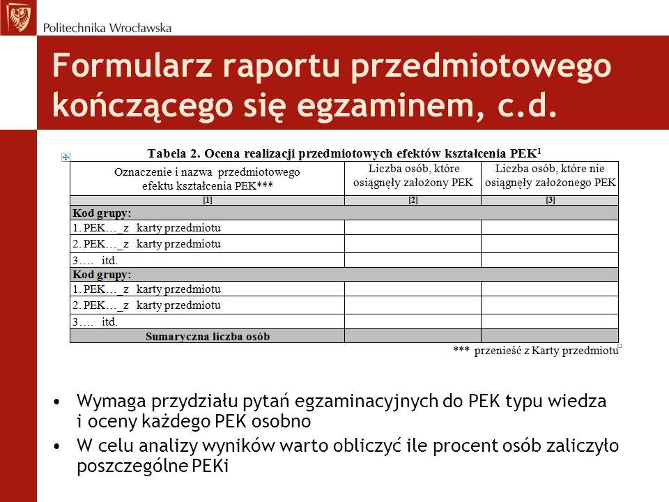 Formularz raportu przedmiotowego kończącego się egzaminem, c.d. Wymaga przydziału pytań egzaminacyjnych do PEK typu wiedza i oceny każdego PEK osobno