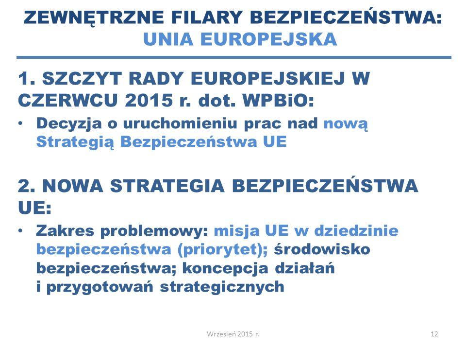 ZEWNĘTRZNE FILARY BEZPIECZEŃSTWA: UNIA EUROPEJSKA 1.