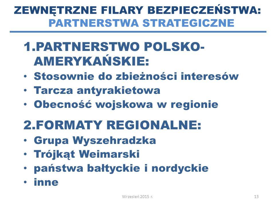 1.PARTNERSTWO POLSKO- AMERYKAŃSKIE: Stosownie do zbieżności interesów Tarcza antyrakietowa Obecność wojskowa w regionie 2.FORMATY REGIONALNE: Grupa Wyszehradzka Trójkąt Weimarski państwa bałtyckie i nordyckie inne 13 ZEWNĘTRZNE FILARY BEZPIECZEŃSTWA: PARTNERSTWA STRATEGICZNE Wrzesień 2015 r.