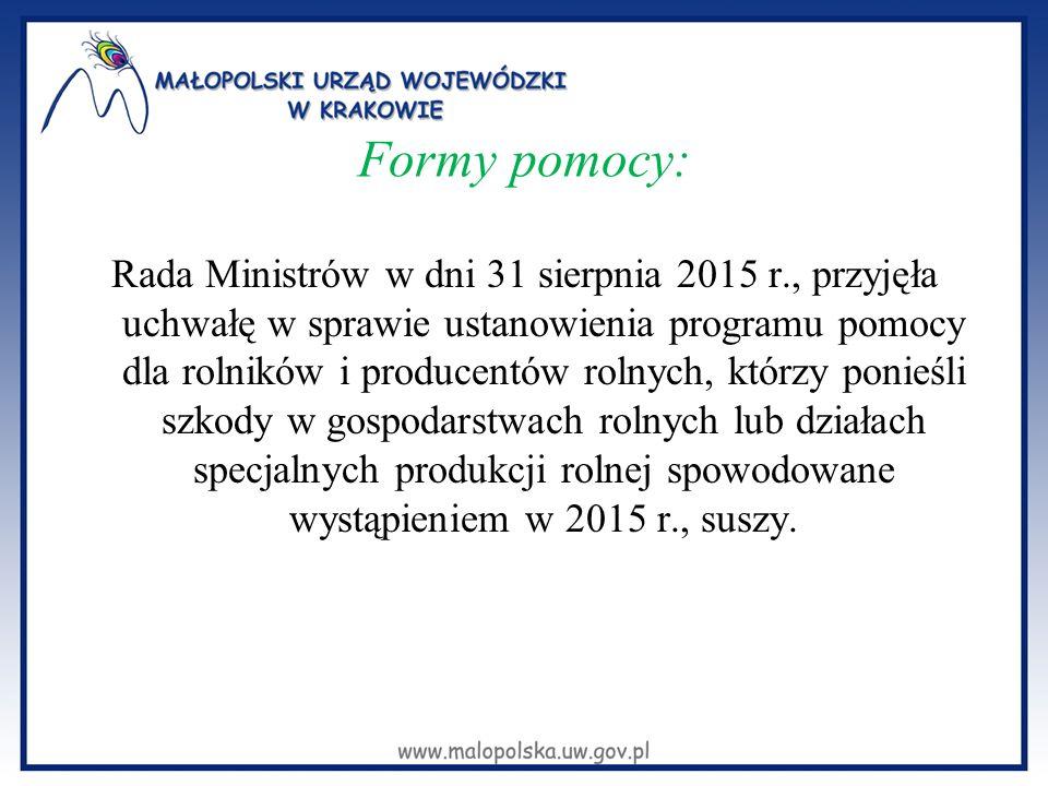 Formy pomocy: Rada Ministrów w dni 31 sierpnia 2015 r., przyjęła uchwałę w sprawie ustanowienia programu pomocy dla rolników i producentów rolnych, kt
