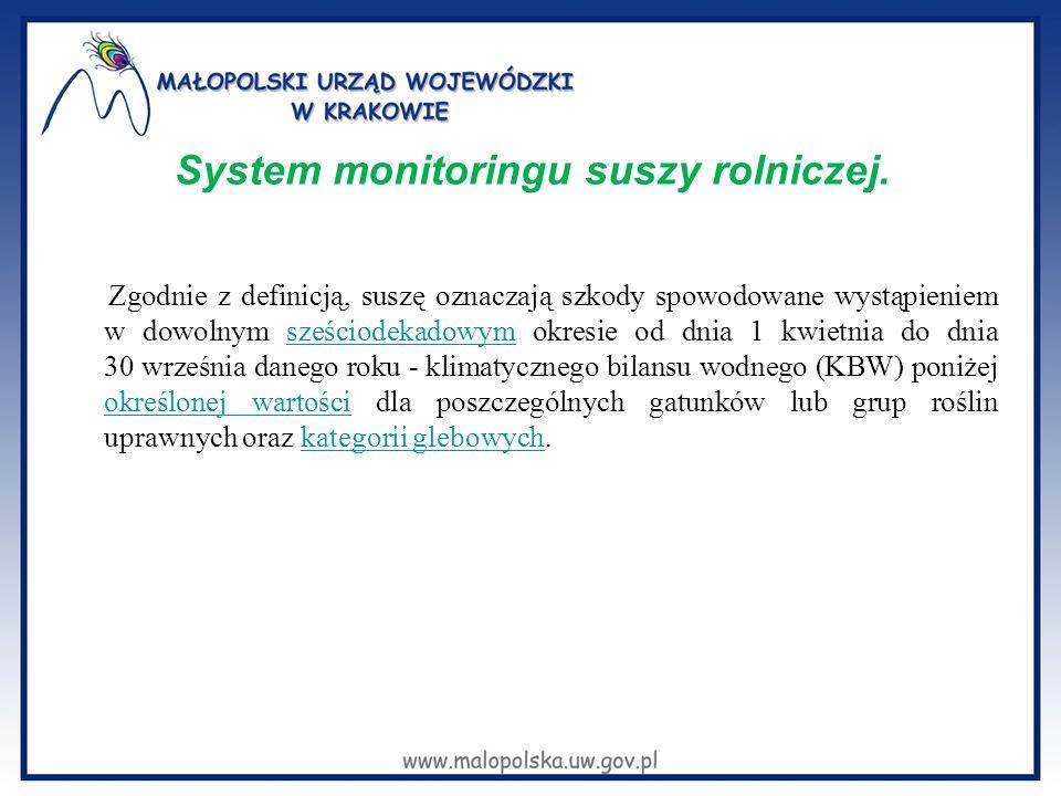 System monitoringu suszy rolniczej. Zgodnie z definicją, suszę oznaczają szkody spowodowane wystąpieniem w dowolnym sześciodekadowym okresie od dnia 1