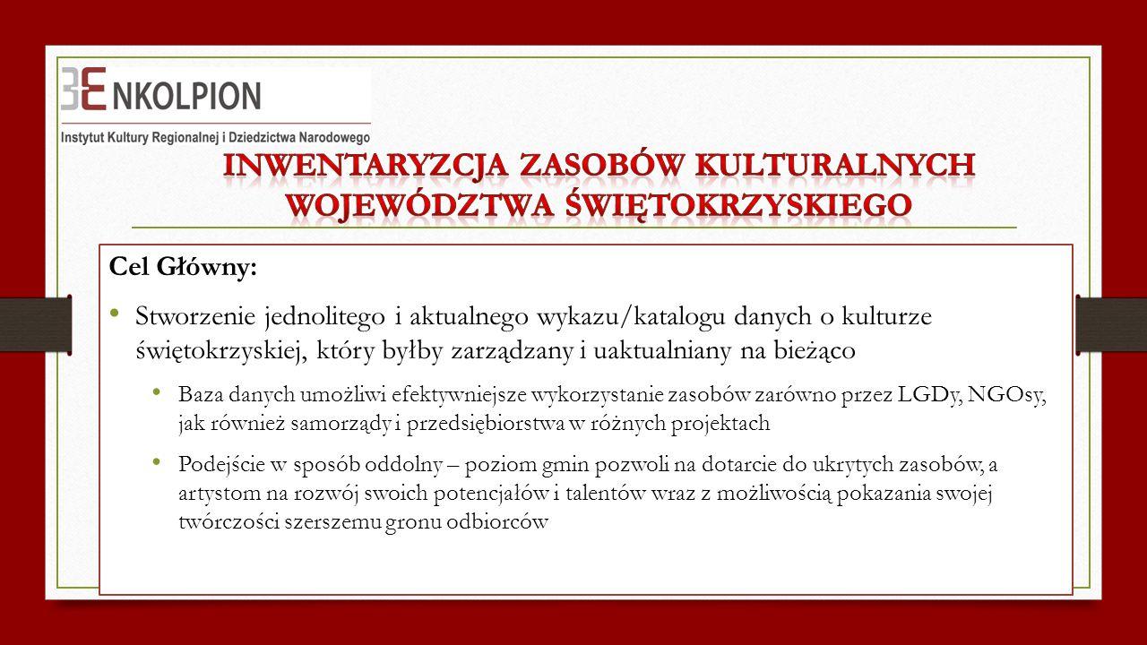 Cel Główny: Stworzenie jednolitego i aktualnego wykazu/katalogu danych o kulturze świętokrzyskiej, który byłby zarządzany i uaktualniany na bieżąco Ba