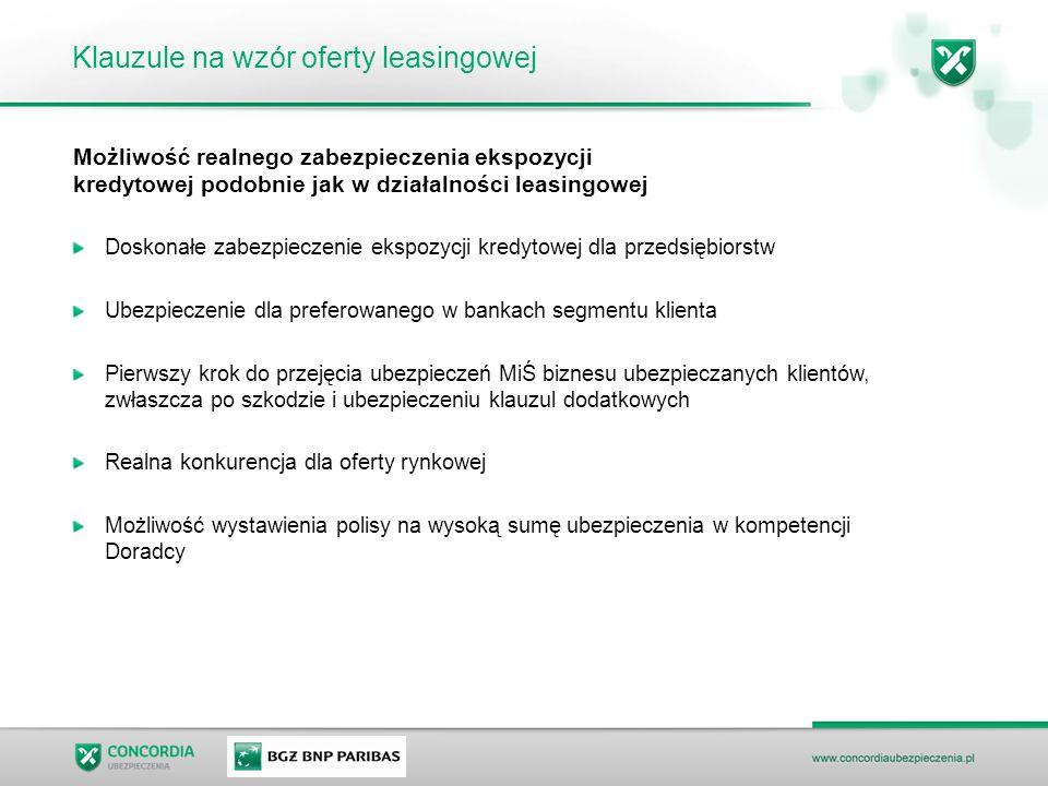 Klauzule na wzór oferty leasingowej Możliwość realnego zabezpieczenia ekspozycji kredytowej podobnie jak w działalności leasingowej Doskonałe zabezpie
