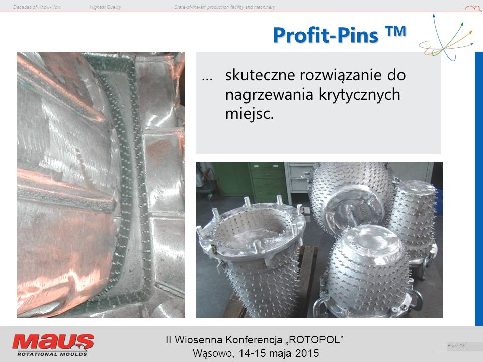 "Decades of Know-HowHighest QualityState-of-the-art production facility and machinery Page 18 II Wiosenna Konferencja ""ROTOPOL"" Wąsowo, 14-15 maja 2015"
