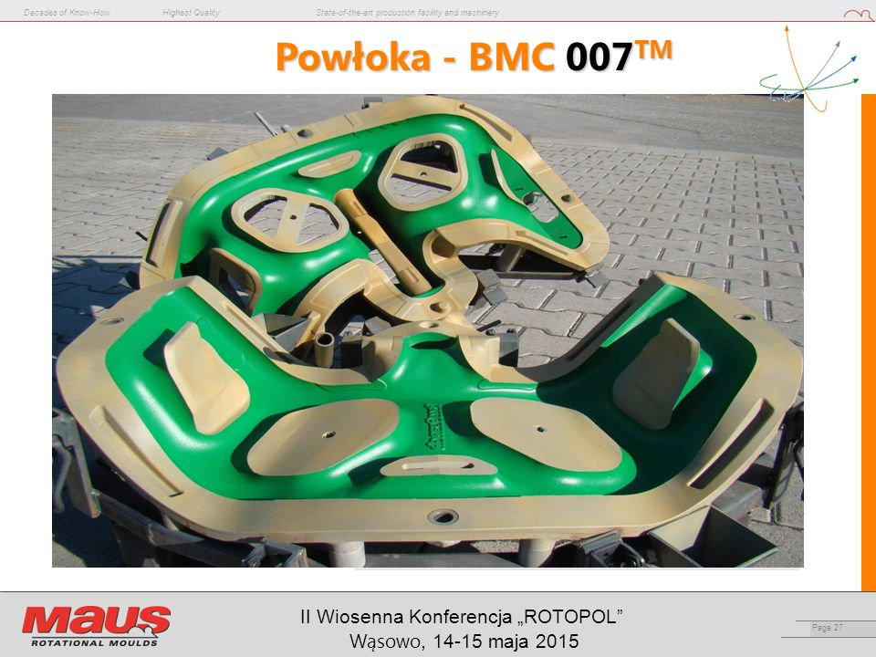 "Decades of Know-HowHighest QualityState-of-the-art production facility and machinery Page 27 II Wiosenna Konferencja ""ROTOPOL Wąsowo, 14-15 maja 2015 Powłoka - BMC 007 TM"