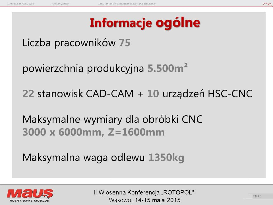"Decades of Know-HowHighest QualityState-of-the-art production facility and machinery Page 15 II Wiosenna Konferencja ""ROTOPOL Wąsowo, 14-15 maja 2015 SPACE-FRAME TM"