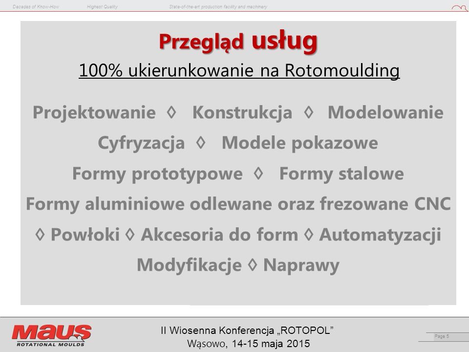 "Decades of Know-HowHighest QualityState-of-the-art production facility and machinery Page 36 II Wiosenna Konferencja ""ROTOPOL Wąsowo, 14-15 maja 2015"
