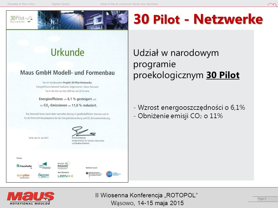 "Decades of Know-HowHighest QualityState-of-the-art production facility and machinery Page 6 II Wiosenna Konferencja ""ROTOPOL"" Wąsowo, 14-15 maja 2015"