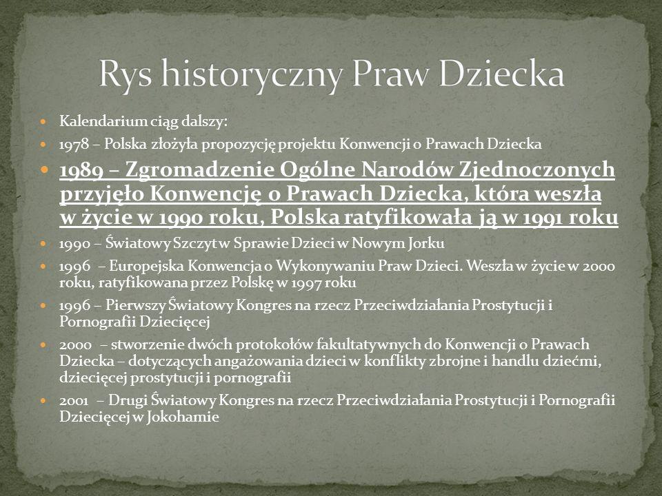Akty prawne w Polsce, które gwarantują poszanowanie Praw Dziecka to: Konstytucja RP ratyfikowana przez nasze państwo Konwencja o Prawach Dziecka Ustawa o Rzeczniku Praw Dziecka
