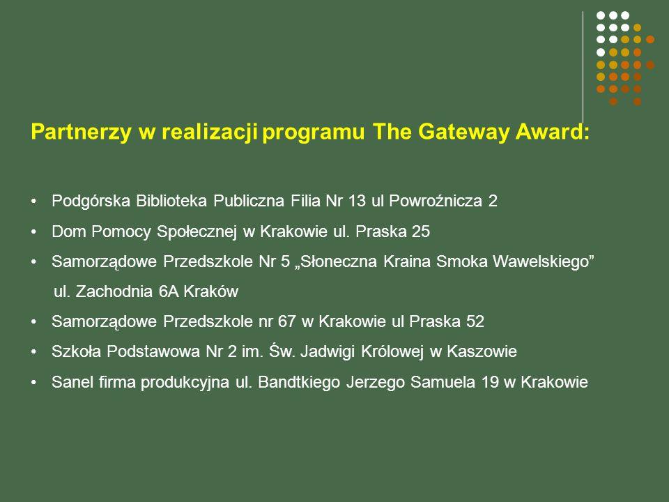 Partnerzy w realizacji programu The Gateway Award: Podgórska Biblioteka Publiczna Filia Nr 13 ul Powroźnicza 2 Dom Pomocy Społecznej w Krakowie ul.