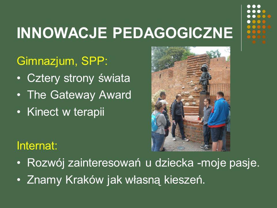 INNOWACJE PEDAGOGICZNE Gimnazjum, SPP: Cztery strony świata The Gateway Award Kinect w terapii Internat: Rozwój zainteresowań u dziecka -moje pasje.