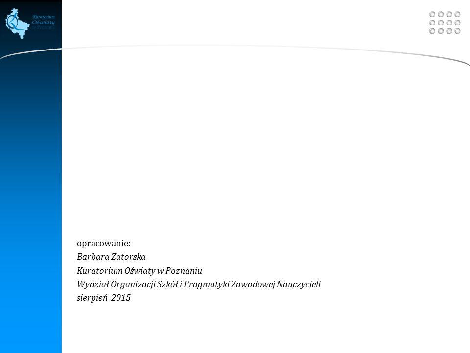Your site here LOGO opracowanie: Barbara Zatorska Kuratorium Oświaty w Poznaniu Wydział Organizacji Szkół i Pragmatyki Zawodowej Nauczycieli sierpień 2015
