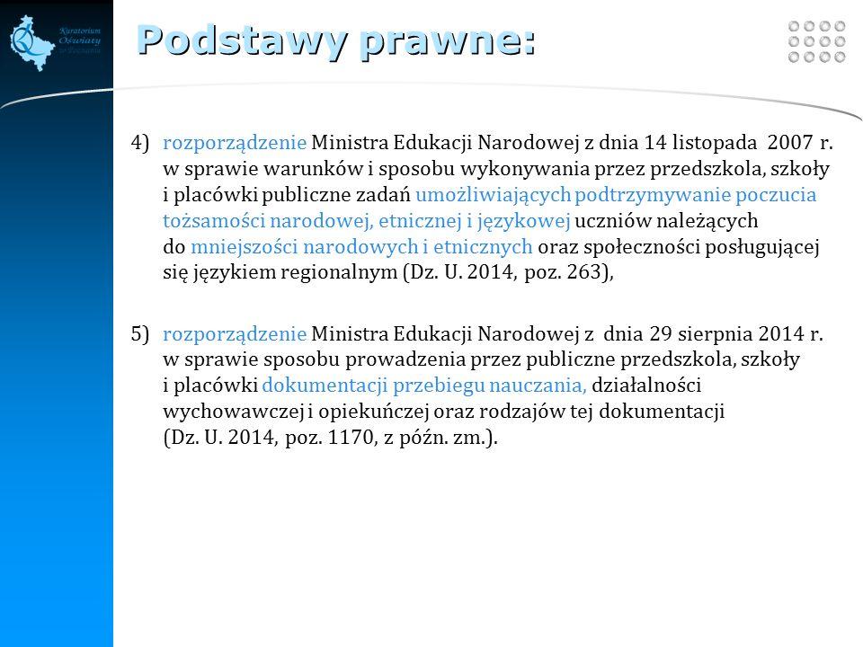 Your site here LOGO Podstawy prawne: 4)rozporządzenie Ministra Edukacji Narodowej z dnia 14 listopada 2007 r.