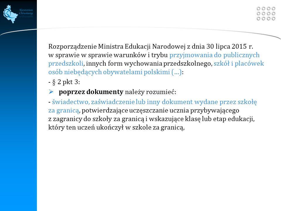 Your site here LOGO Rozporządzenie Ministra Edukacji Narodowej z dnia 30 lipca 2015 r.