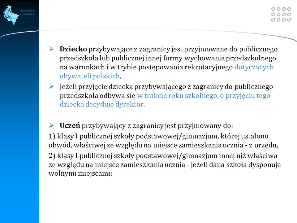 Your site here LOGO  Dziecko przybywające z zagranicy jest przyjmowane do publicznego przedszkola lub publicznej innej formy wychowania przedszkolnego na warunkach i w trybie postępowania rekrutacyjnego dotyczących obywateli polskich,  Jeżeli przyjęcie dziecka przybywającego z zagranicy do publicznego przedszkola odbywa się w trakcie roku szkolnego, o przyjęciu tego dziecka decyduje dyrektor.