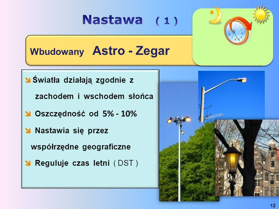 Wbudowany Astro - Zegar 12  Światła działają zgodnie z zachodem i wschodem słońca  Oszczędność od 5% - 10%  Nastawia się przez współrzędne geografi