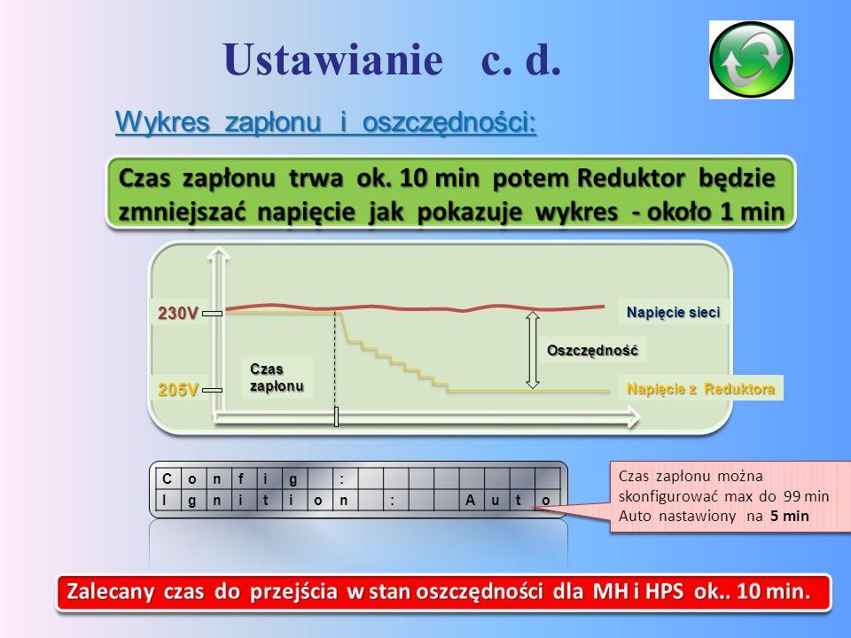 Ustawianie c. d. 14 :gifnoC otuA:noitingI Czas zapłonu można skonfigurować max do 99 min Auto nastawiony na 5 min Wykres zapłonu i oszczędności: 230V