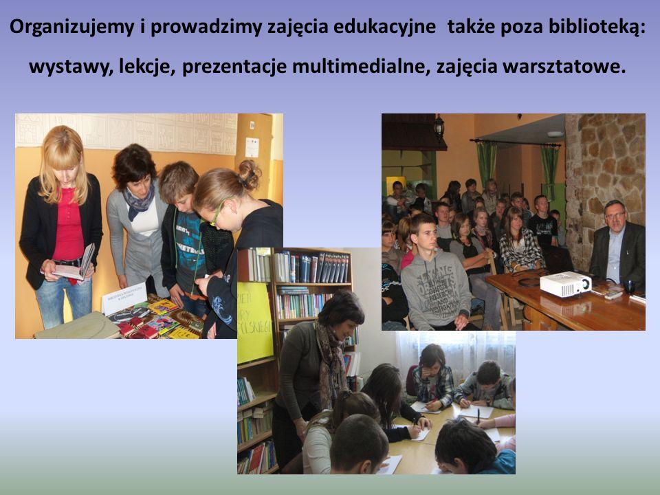 Organizujemy i prowadzimy zajęcia edukacyjne także poza biblioteką: wystawy, lekcje, prezentacje multimedialne, zajęcia warsztatowe.