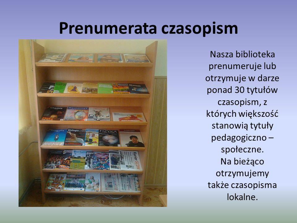 Prenumerata czasopism Nasza biblioteka prenumeruje lub otrzymuje w darze ponad 30 tytułów czasopism, z których większość stanowią tytuły pedagogiczno – społeczne.