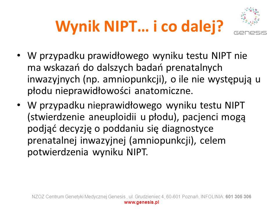 Wynik NIPT… i co dalej? W przypadku prawidłowego wyniku testu NIPT nie ma wskazań do dalszych badań prenatalnych inwazyjnych (np. amniopunkcji), o ile