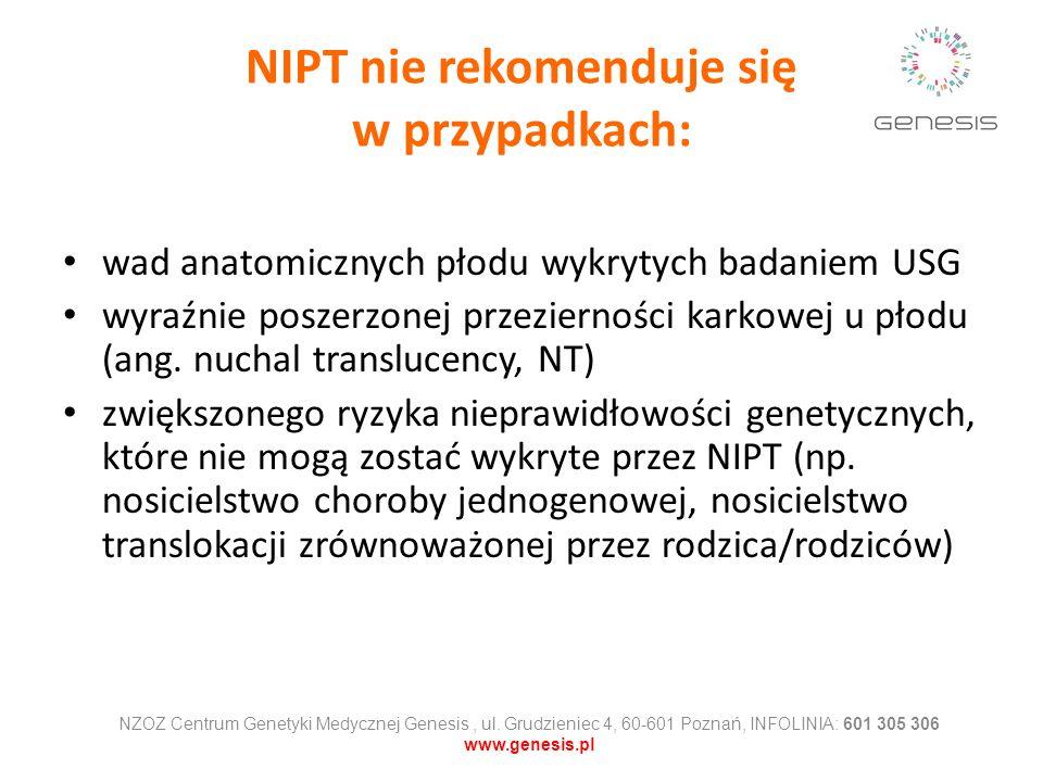 NIPT nie rekomenduje się w przypadkach: wad anatomicznych płodu wykrytych badaniem USG wyraźnie poszerzonej przezierności karkowej u płodu (ang. nucha