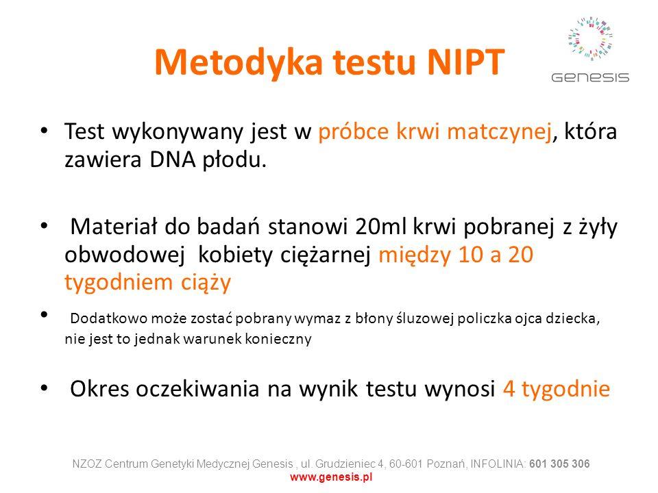 Metodyka testu NIPT Test wykonywany jest w próbce krwi matczynej, która zawiera DNA płodu. Materiał do badań stanowi 20ml krwi pobranej z żyły obwodow