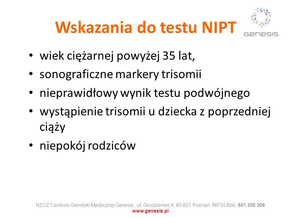 Wskazania do testu NIPT wiek ciężarnej powyżej 35 lat, sonograficzne markery trisomii nieprawidłowy wynik testu podwójnego wystąpienie trisomii u dzie