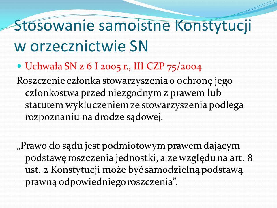 Stosowanie samoistne Konstytucji w orzecznictwie SN Uchwała SN z 6 I 2005 r., III CZP 75/2004 Roszczenie członka stowarzyszenia o ochronę jego członko