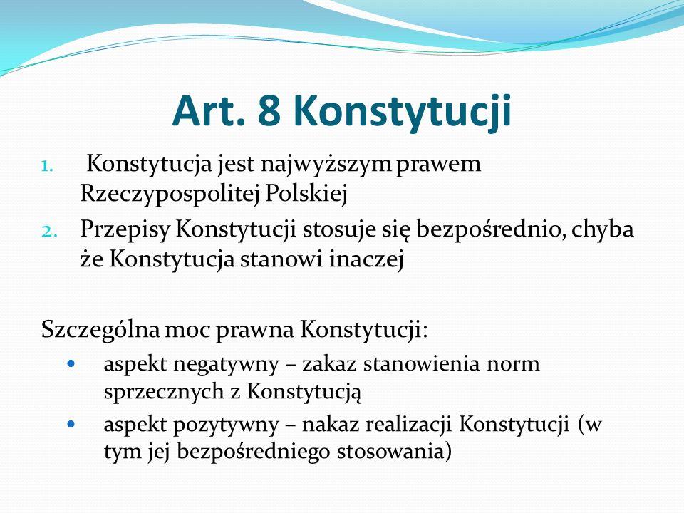 Art. 8 Konstytucji 1. Konstytucja jest najwyższym prawem Rzeczypospolitej Polskiej 2. Przepisy Konstytucji stosuje się bezpośrednio, chyba że Konstytu