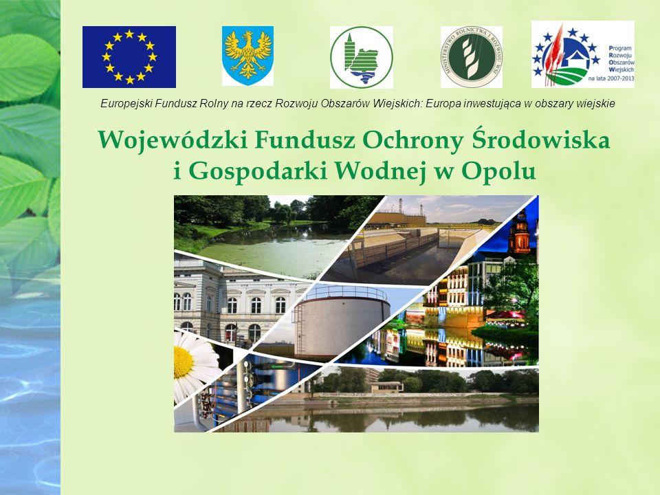 Wojewódzki Fundusz Ochrony Środowiska i Gospodarki Wodnej w Opolu Europejski Fundusz Rolny na rzecz Rozwoju Obszarów Wiejskich: Europa inwestująca w obszary wiejskie