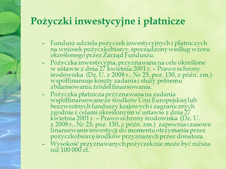 Pożyczki inwestycyjne i płatnicze –Fundusz udziela pożyczek inwestycyjnych i płatniczych na wniosek pożyczkobiorcy, sporządzony według wzoru określonego przez Zarząd Funduszu.