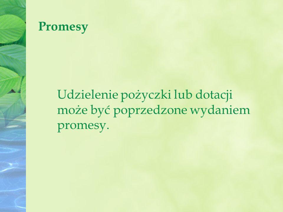 Promesy Udzielenie pożyczki lub dotacji może być poprzedzone wydaniem promesy.