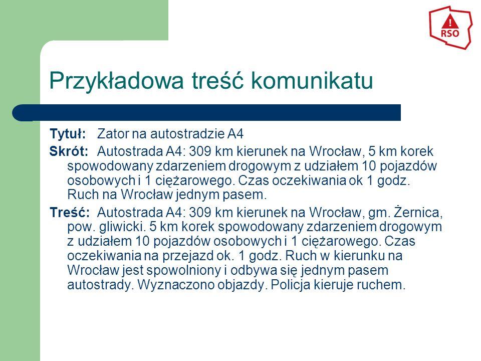 Przykładowa treść komunikatu Tytuł:Zator na autostradzie A4 Skrót:Autostrada A4: 309 km kierunek na Wrocław, 5 km korek spowodowany zdarzeniem drogowy