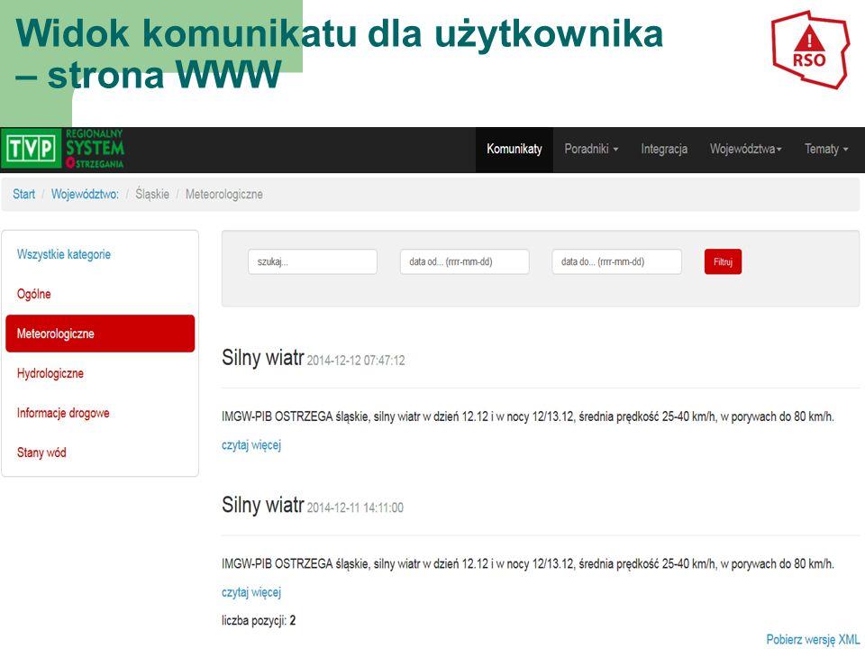 Widok komunikatu dla użytkownika – strona WWW