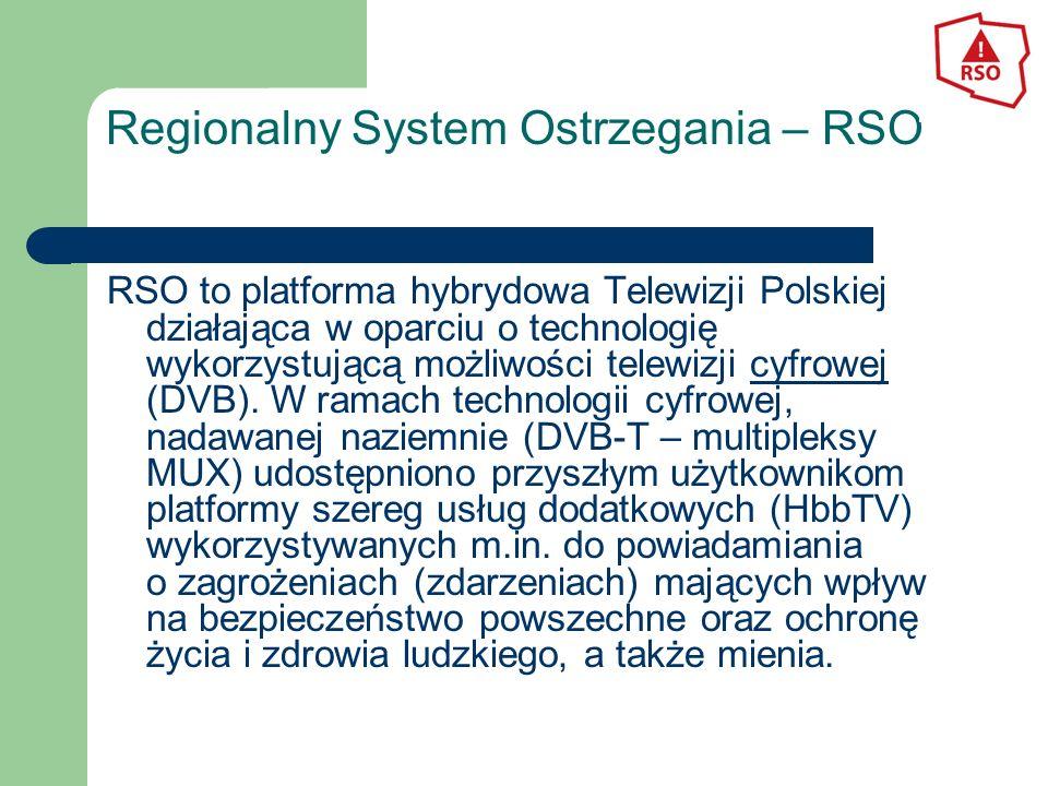 Regionalny System Ostrzegania – RSO RSO to platforma hybrydowa Telewizji Polskiej działająca w oparciu o technologię wykorzystującą możliwości telewizji cyfrowej (DVB).