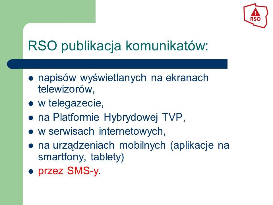 RSO publikacja komunikatów: napisów wyświetlanych na ekranach telewizorów, w telegazecie, na Platformie Hybrydowej TVP, w serwisach internetowych, na