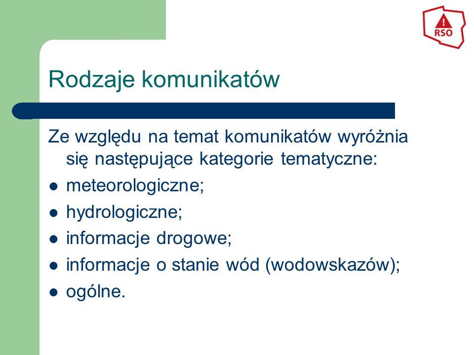 Rodzaje komunikatów Ze względu na temat komunikatów wyróżnia się następujące kategorie tematyczne: meteorologiczne; hydrologiczne; informacje drogowe; informacje o stanie wód (wodowskazów); ogólne.