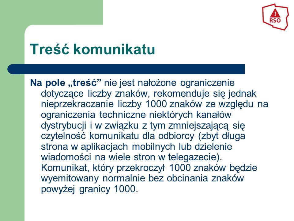 Przykładowa treść komunikatu Tytuł:Zator na autostradzie A4 Skrót:Autostrada A4: 309 km kierunek na Wrocław, 5 km korek spowodowany zdarzeniem drogowym z udziałem 10 pojazdów osobowych i 1 ciężarowego.