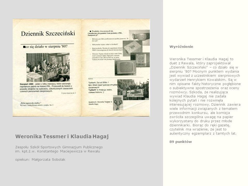 """Wyróżnienie Weronika Tessmer i Klaudia Hagaj to duet z Rewala, który zaprojektował """"Dziennik Szczeciński – co działo się w sierpniu '80."""