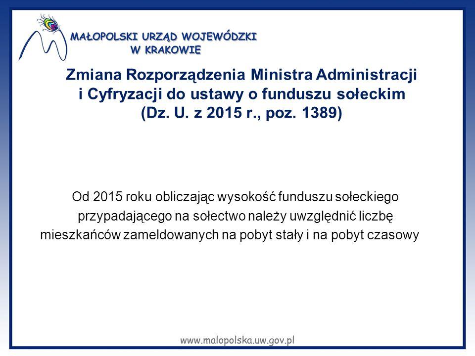 Zmiana Rozporządzenia Ministra Administracji i Cyfryzacji do ustawy o funduszu sołeckim (Dz. U. z 2015 r., poz. 1389) Od 2015 roku obliczając wysokość