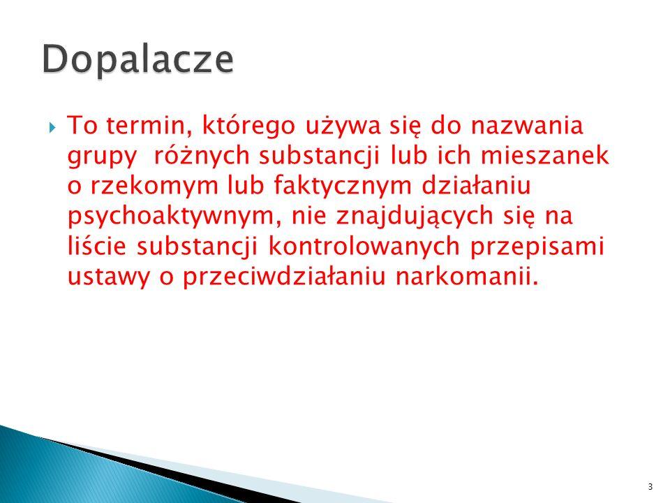  To termin, którego używa się do nazwania grupy różnych substancji lub ich mieszanek o rzekomym lub faktycznym działaniu psychoaktywnym, nie znajdujących się na liście substancji kontrolowanych przepisami ustawy o przeciwdziałaniu narkomanii.