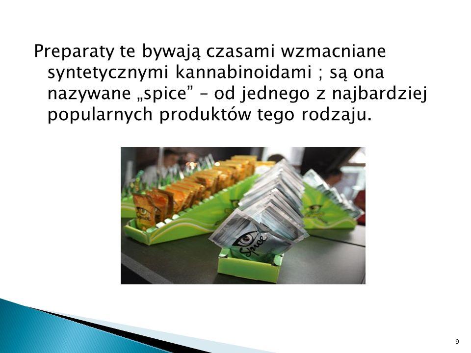 """Preparaty te bywają czasami wzmacniane syntetycznymi kannabinoidami ; są ona nazywane """"spice – od jednego z najbardziej popularnych produktów tego rodzaju."""