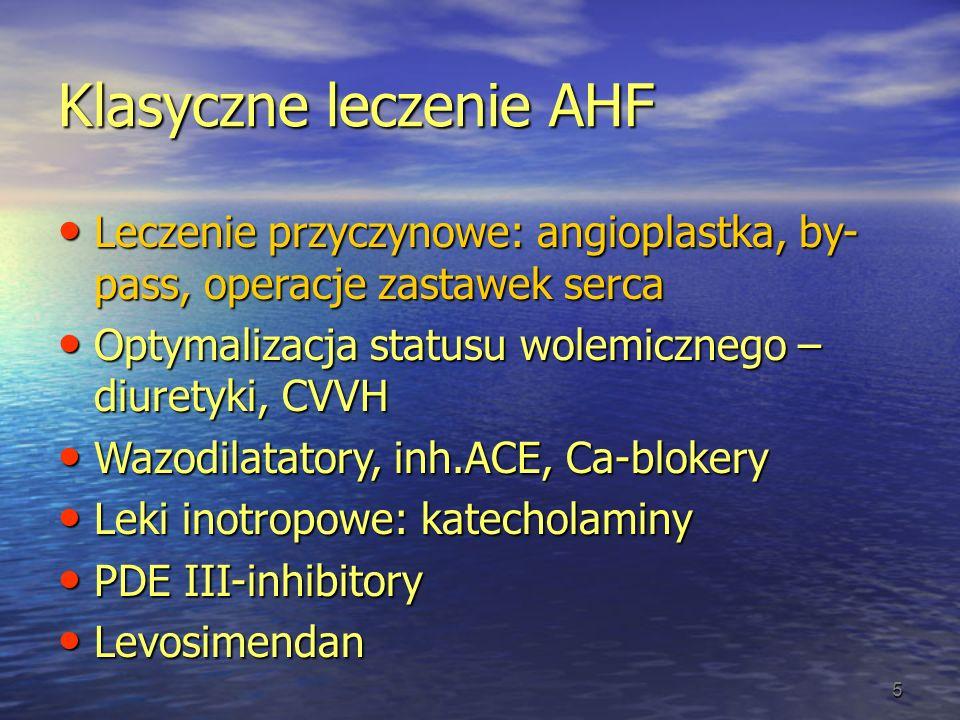 Klasyczne leczenie AHF Leczenie przyczynowe: angioplastka, by- pass, operacje zastawek serca Leczenie przyczynowe: angioplastka, by- pass, operacje za