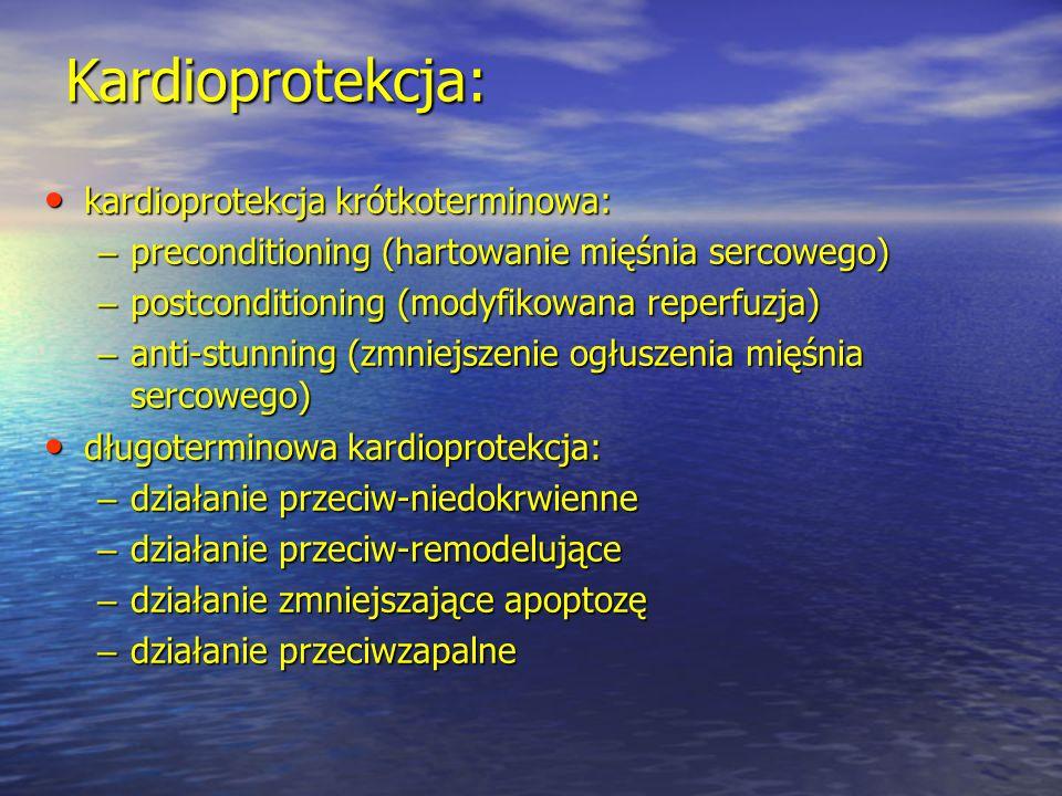 Kardioprotekcja: kardioprotekcja krótkoterminowa: kardioprotekcja krótkoterminowa: – preconditioning (hartowanie mięśnia sercowego) – postconditioning