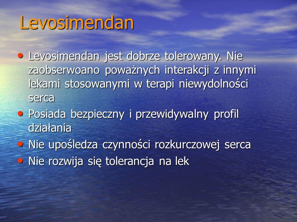 Levosimendan Levosimendan jest dobrze tolerowany. Nie zaobserwoano poważnych interakcji z innymi lekami stosowanymi w terapi niewydolności serca Levos