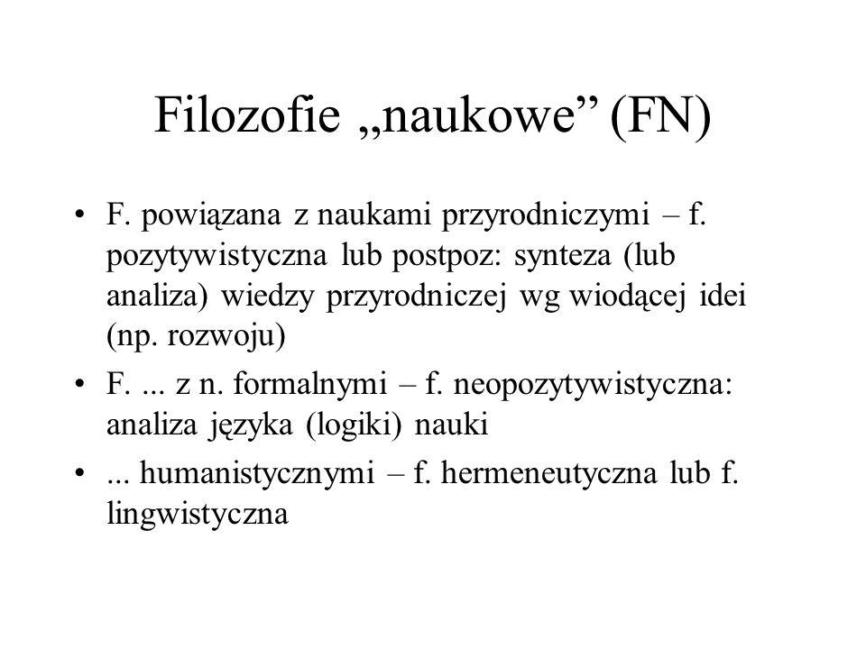 """Filozofie """"naukowe"""" (FN) F. powiązana z naukami przyrodniczymi – f. pozytywistyczna lub postpoz: synteza (lub analiza) wiedzy przyrodniczej wg wiodące"""