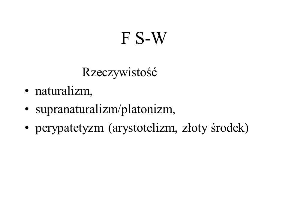 F S-W Rzeczywistość naturalizm, supranaturalizm/platonizm, perypatetyzm (arystotelizm, złoty środek)
