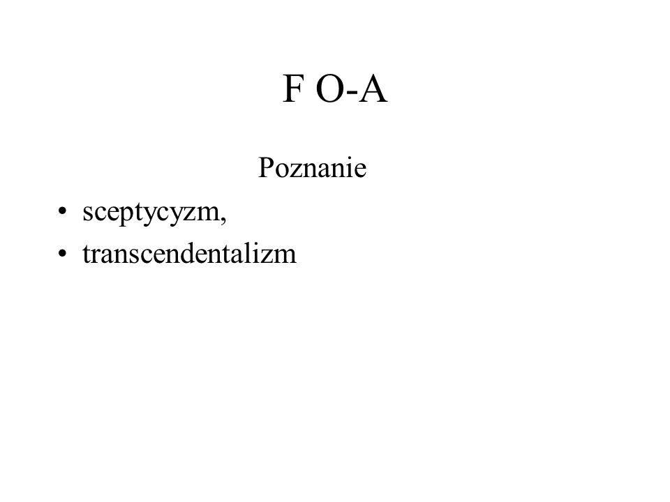 F O-A Poznanie sceptycyzm, transcendentalizm