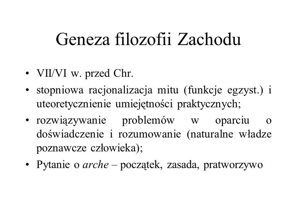 Geneza filozofii Zachodu VII/VI w. przed Chr. stopniowa racjonalizacja mitu (funkcje egzyst.) i uteoretycznienie umiejętności praktycznych; rozwiązywa